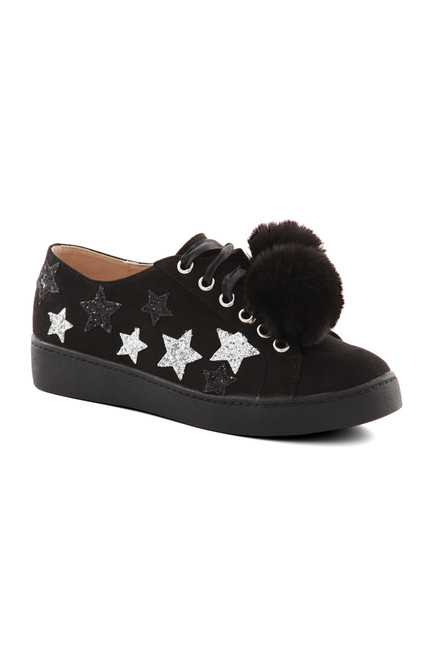 Black Star Pom Pom Trainers