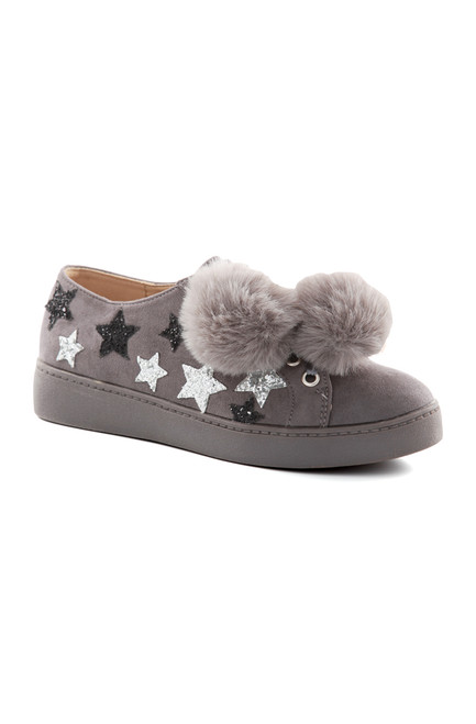Grey Star Pom Pom Trainers
