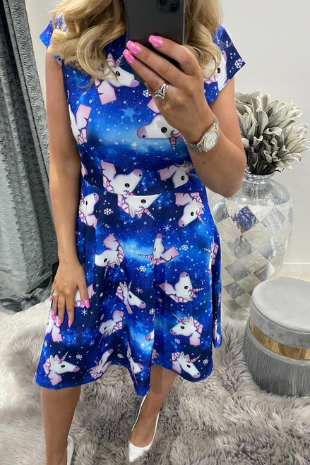 Adult Blue Unicorn Skater Dress