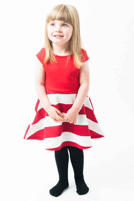 Children Red & White Candy Stripe Skater Dress