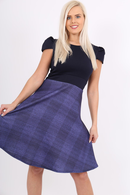 Navy Contrast Tartan Skater Dress