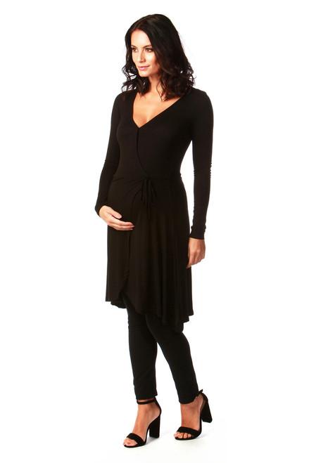 Black Tiffany Maternity Jersey Wrap Dress