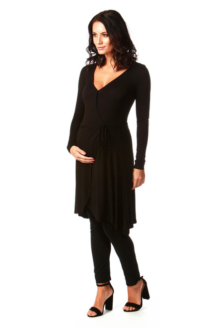 Black Tiffany Maternity Jersey Wrap Dress