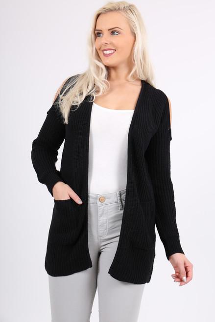 Black Shay Cold Shoulder Cardigan