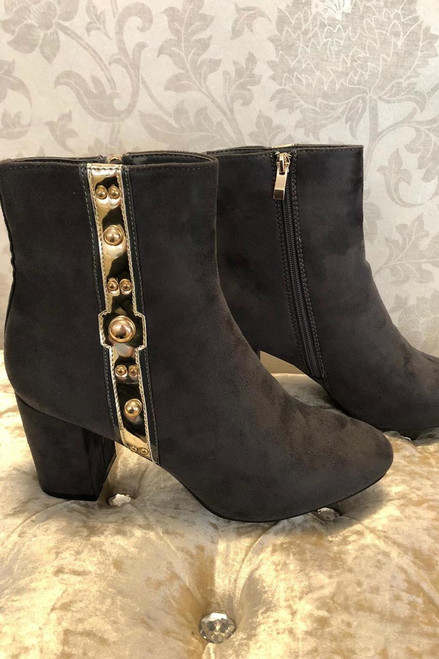 Grey Freya Ankle Boots with Trim