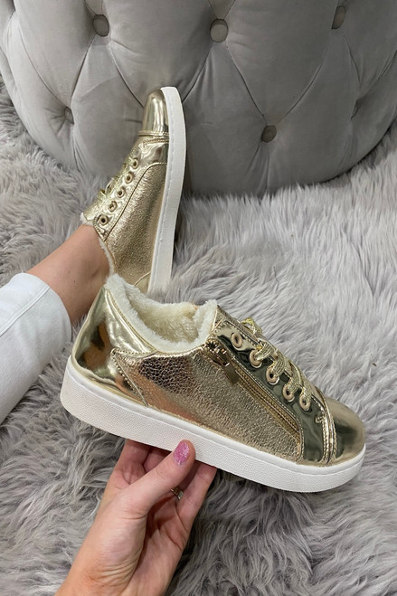 Luxury Gold Trainers With Fur Insoles