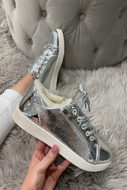 Luxury Silver Trainers With Fur Insoles