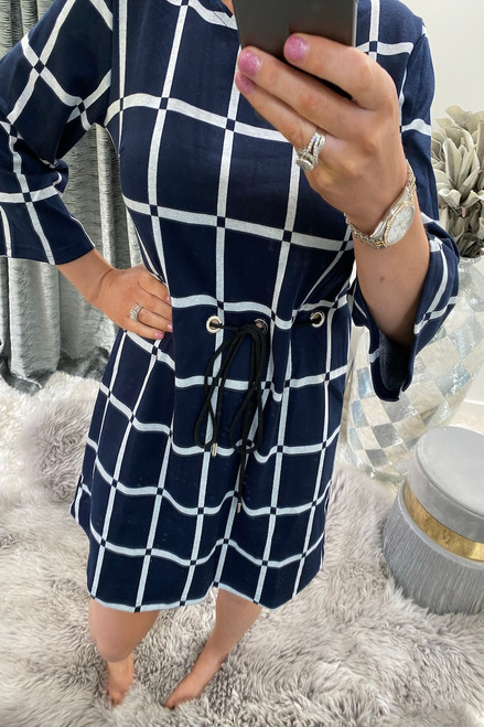 Navy Eve Tie Shift Dress
