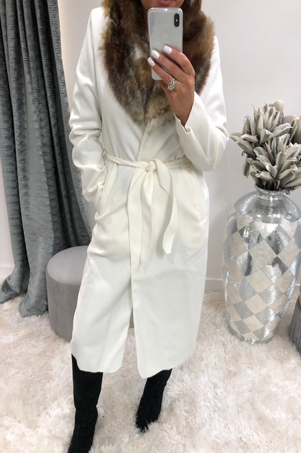 White Faux Fur Trim Coat