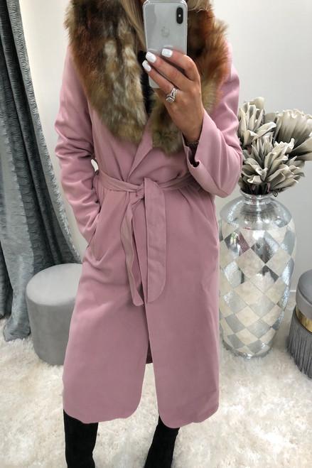 Dusky Pink Faux Fur Trim Coat