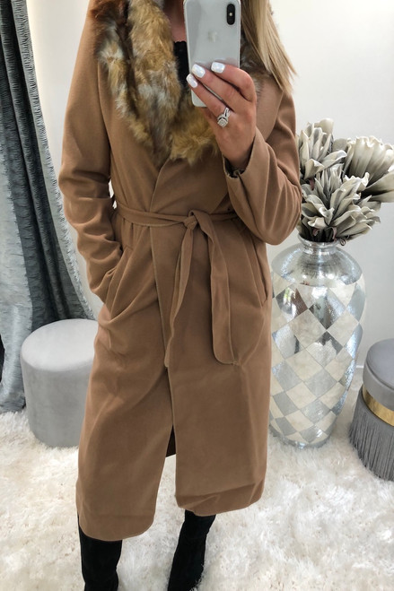 Camel Faux Fur Trim Coat