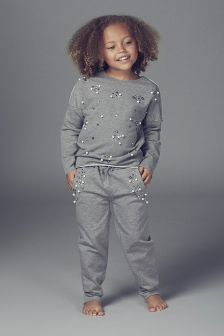 Children's Grey Rene Pearl Detailed Lounge Suit
