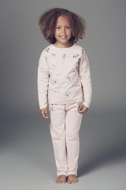 Children's Dusky Pink Rene Pearl Detailed Lounge Suit