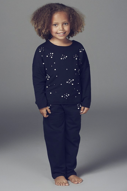 Children's Navy Rene Pearl Detailed Lounge Suit