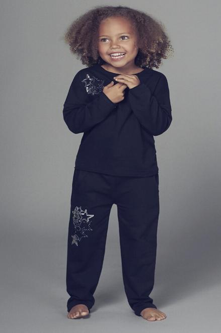 Children's Navy Sequin Star Detailed Lounge Suit