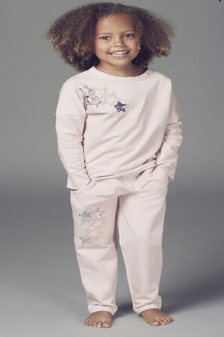 Children's Dusky Pink Sequin Star Detailed Lounge Suit