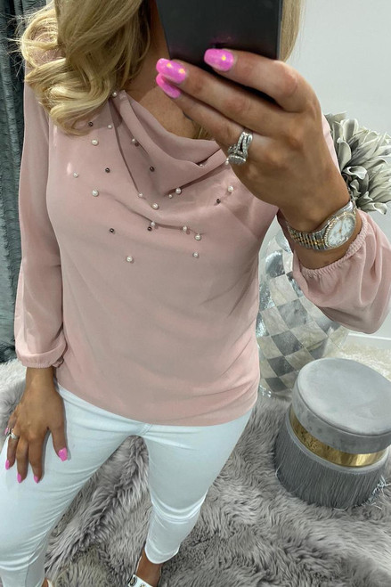 Dusky Pink Beaded Chiffon Cowl Neck Top