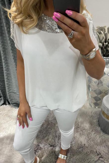 White Sequin Chiffon Top