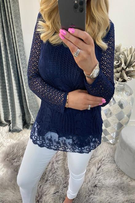 Natalie Navy Crochet Top