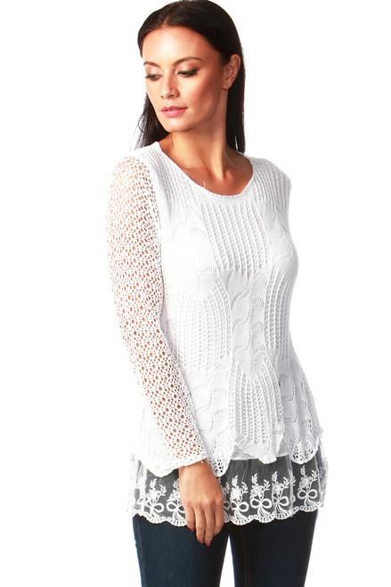 Natalie White Crochet Top