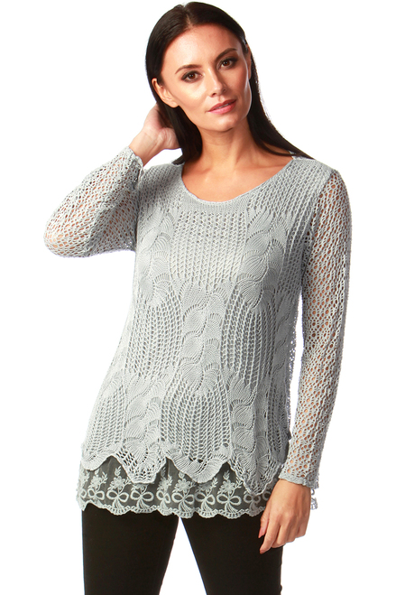 Natalie Grey Crochet Top