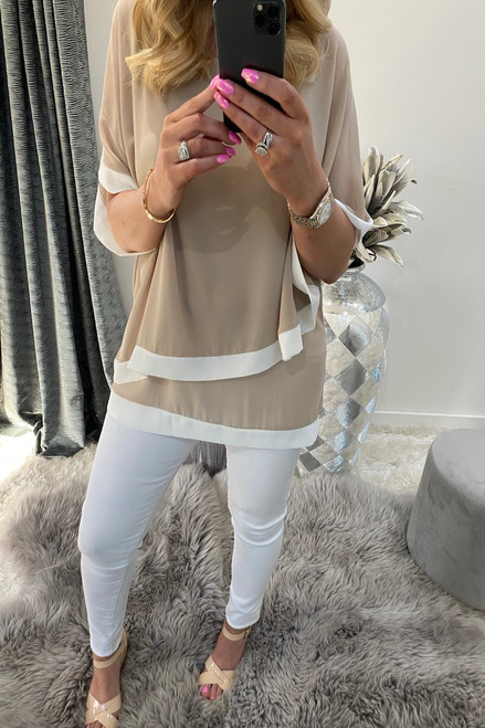 Naya Camel and White Overlay Chiffon Top