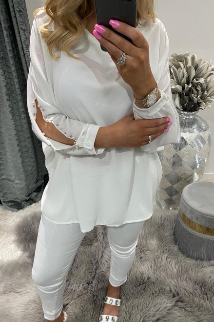 Helen White Beaded Chiffon Top with a Cut Out Sleeve