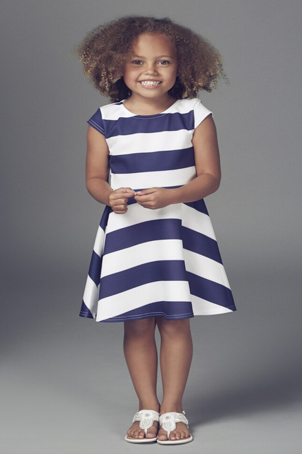 Children's Nautical Kady Cap Sleeve Skater Dress