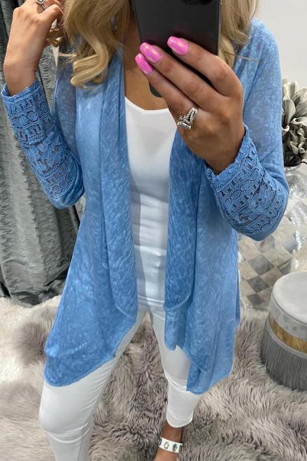 Roxy Denim Cardigan with Lace Detail