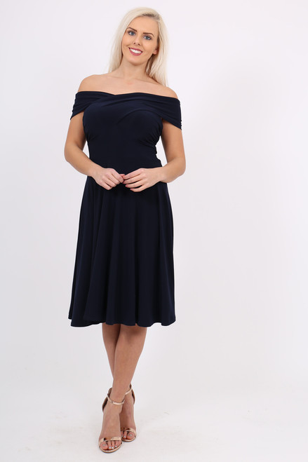 Navy Twist Front Bardot Skater Dress
