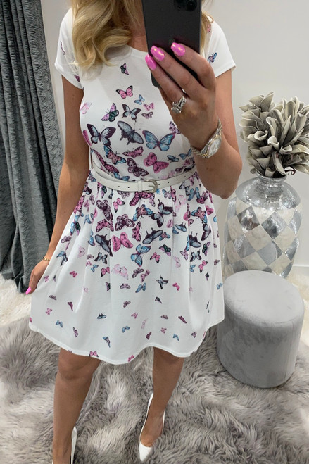 White Butterfly Belted Skater Dress