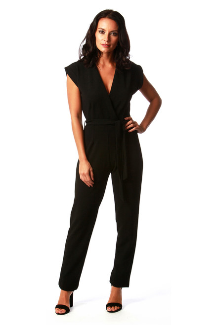 Black Caitlin Wrap Over Jumpsuit