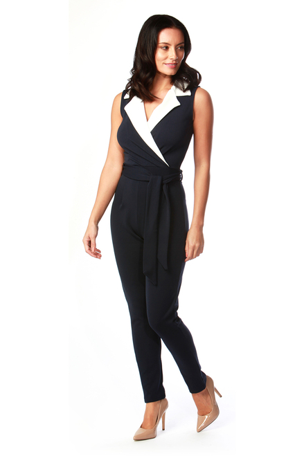 Navy and White Tux Jumpsuit