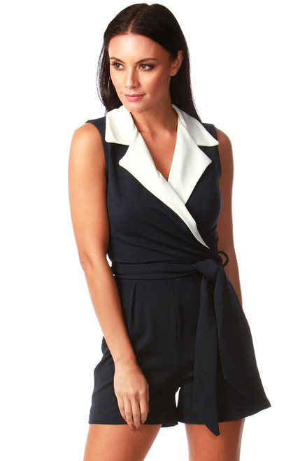Navy and White Tux Playsuit
