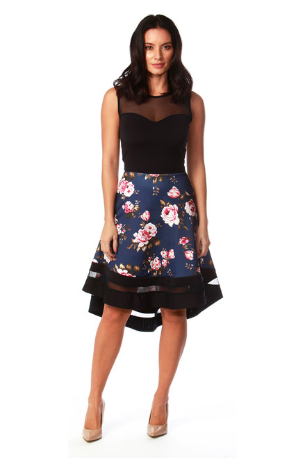 dc0213a31f Aronia Navy Mesh Dip Hem Floral Skater Dress