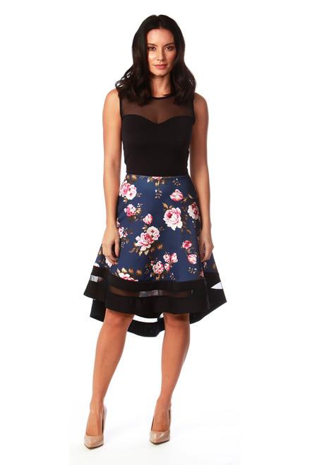 Aronia Navy Mesh Dip Hem  Floral Skater Dress