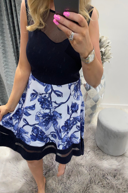 Hasai Mesh Dip Hem Floral Skater Dress