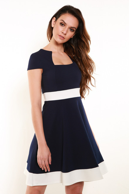 Kandi Navy and White Skater Dress