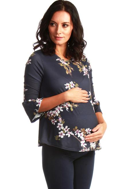 Amaryllis Maternity Navy Floral Flute Top
