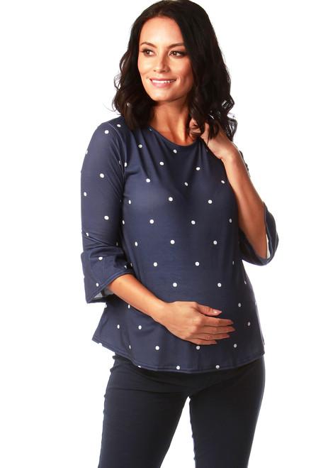 Navy Polka Dot Maternity Flute Top
