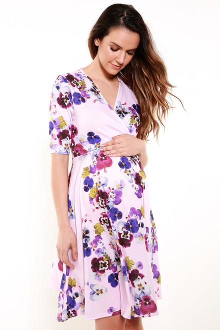 Maternity Hanan Floral 3/4 Sleeve Wrap Skater Dress