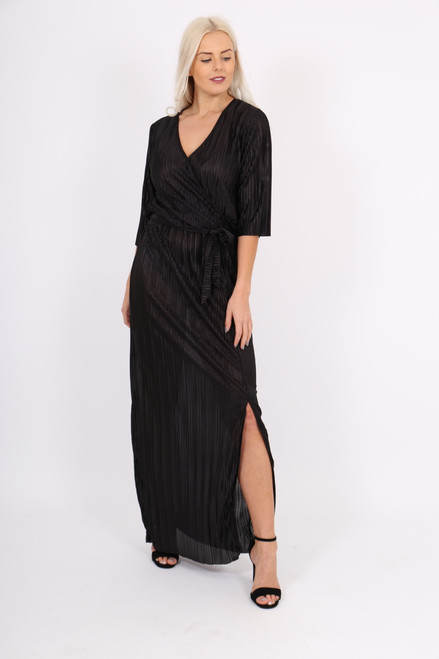 Black Pleated Maxi Dress