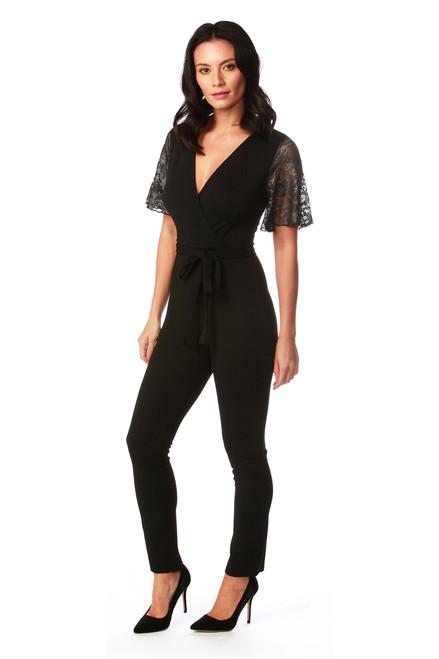 Leticia Black Mesh Sleeve Jumpsuit