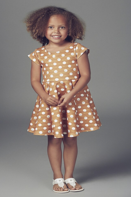Children's Mustard Polka Dot Skater Dress