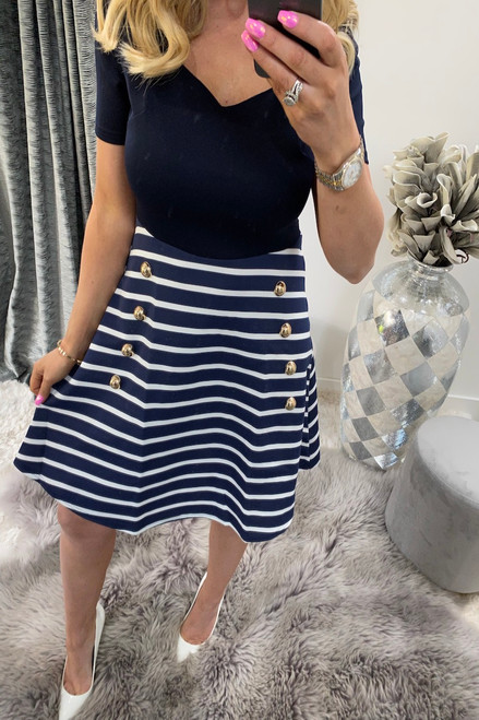 Nautical Short Sleeve Military Skater Dress