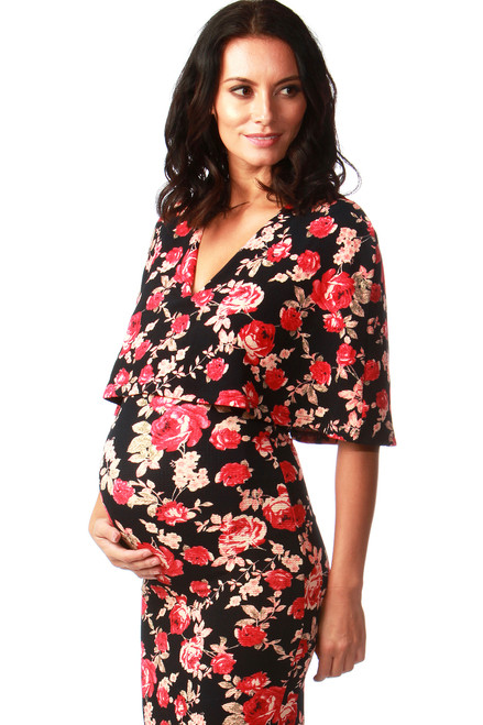 Evoke Maternity Floral Fiona Overlay Bodycon.