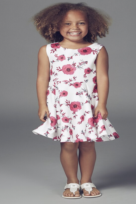 Children's Vivienne Pink Rose Skater Dress