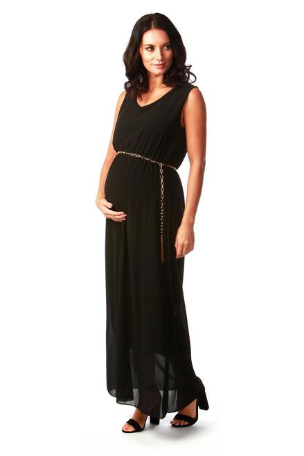 Maternity Black Millionaire Chiffon Maxi Dress