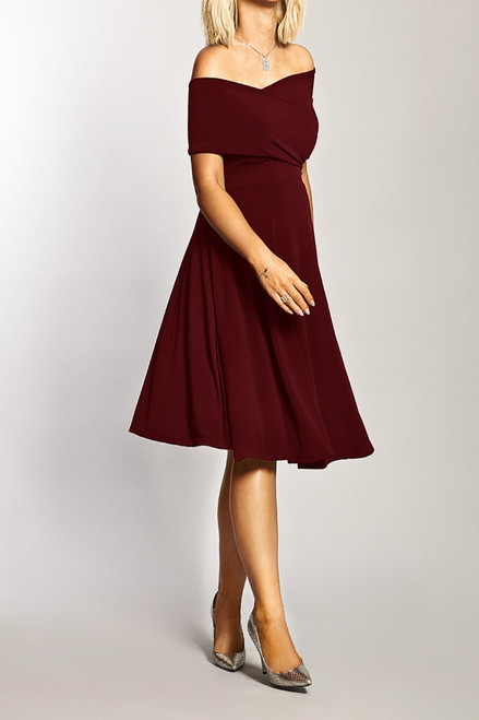 Maternity Wine Bardot Twist Front Detailed Dress