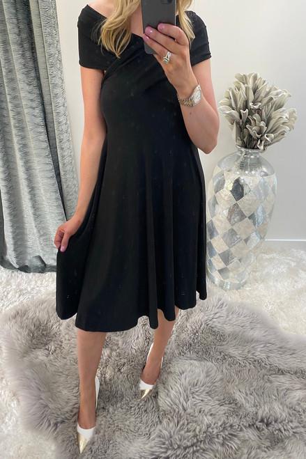 Black Bardot Twist Front Detailed Dress